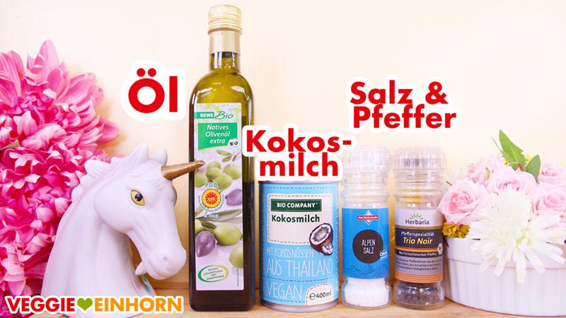 Olivenöl, Kokosmilch, Salz und Pfeffer