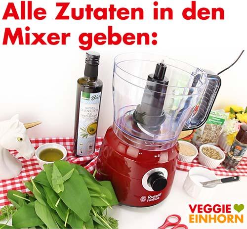 Küchenmaschine und Zutaten für Bärlauchpesto