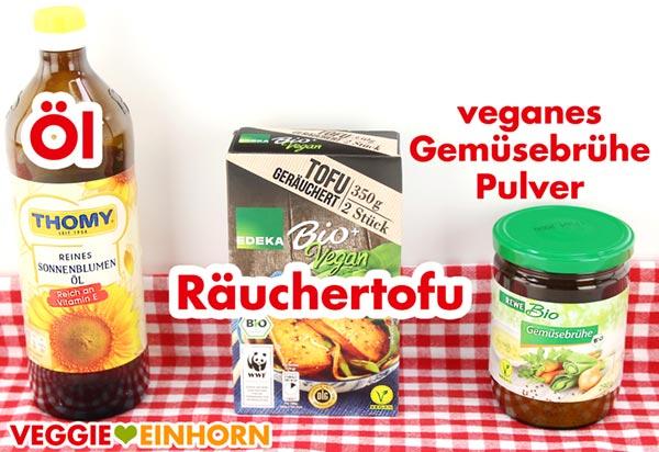 Zutaten für veganes Tofu Gulasch mit Räuchertofu
