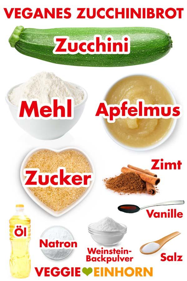 Zutaten für veganes Zucchinibrot