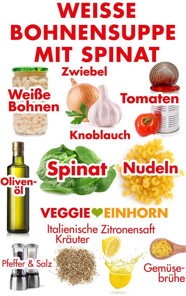 Zutaten für weiße Bohnensuppe mit Spinat