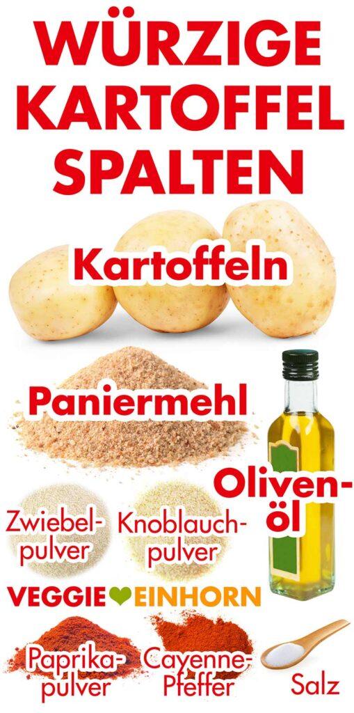 Zutaten für würzige Kartoffelspalten