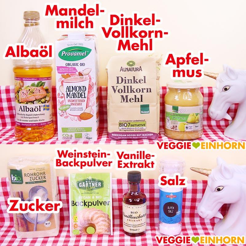 Zutaten für vegane Dinkel Vollkorn Waffeln | Dinkelmehl Albaöl Mandelmilch Apfelmus | Einfaches veganes Rezept mit VIDEO