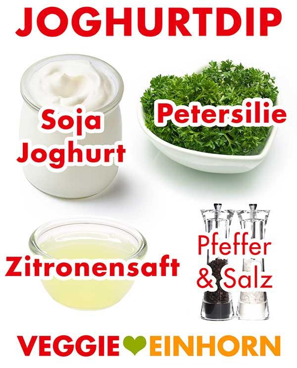 Sojajoghurt, Petersilie, Zitronensaft, Pfeffer und Salz