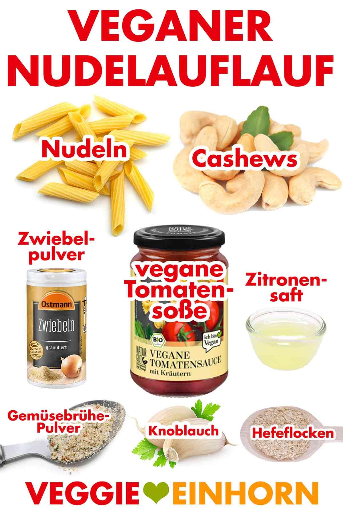 Zutaten für einfachen veganen Nudelauflauf mit Cashew-Käsesoße