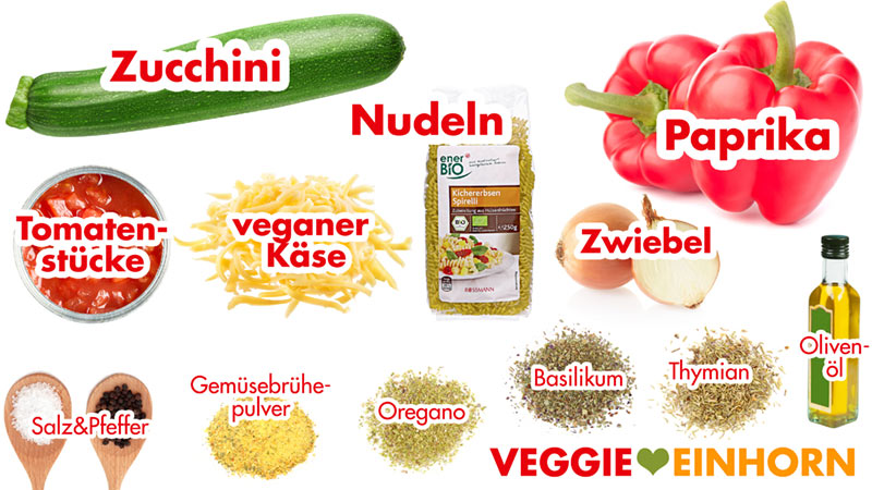 Zutaten Zucchini, Paprika, Nudeln, veganer Käse