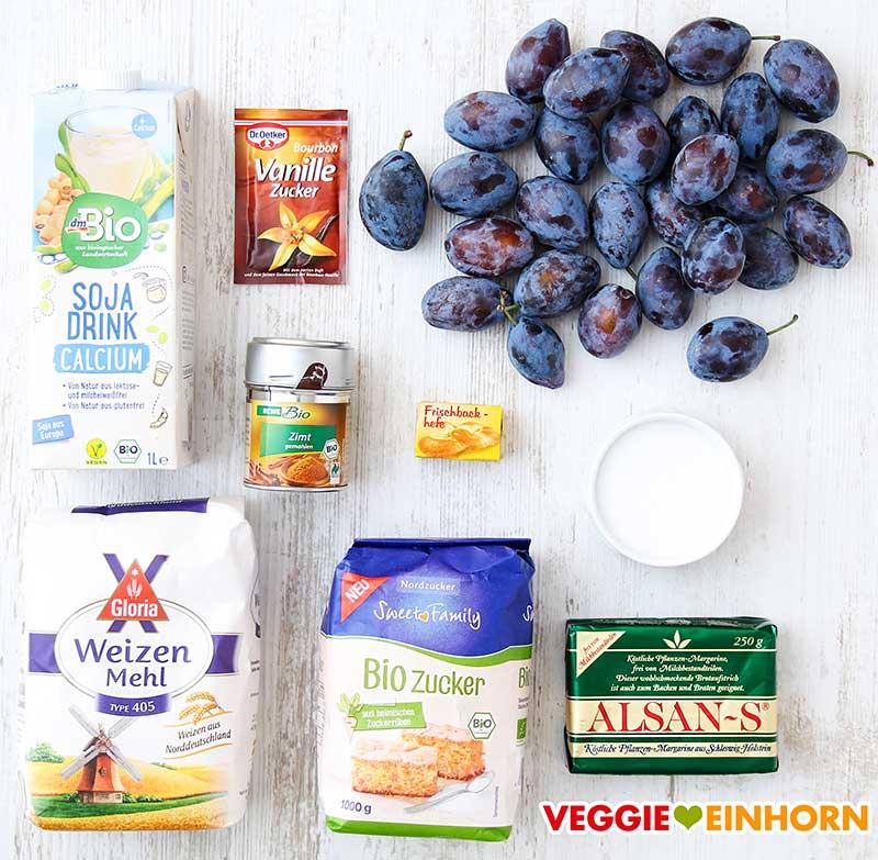 Zutaten für veganen Zwetschgenkuchen mit Hefeteig