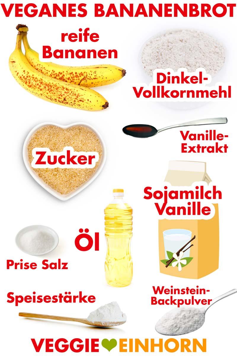 Zutaten für veganes Bananenbrot
