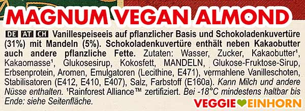 Zutaten von veganem Magnum Mandel