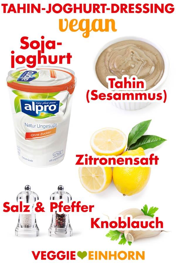 Zutaten für veganes Tahin-Joghurt-Dressing mit Sojajoghurt
