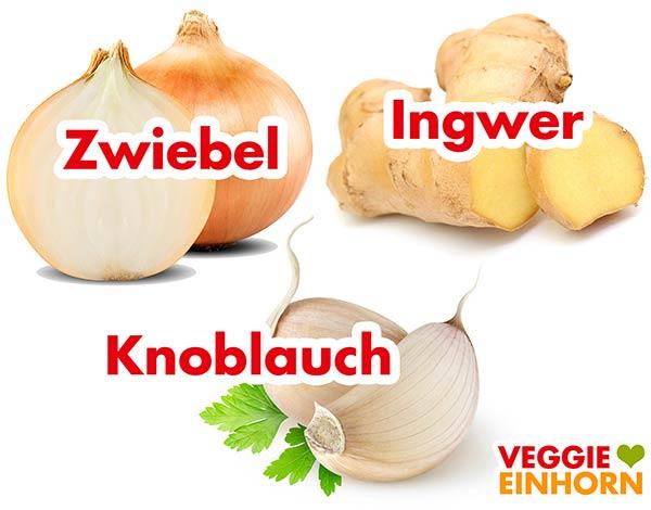 Zwiebel, Ingwer und Knoblauch