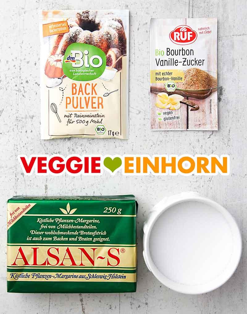 Weinsteinbackpulver, Vanillezucker, Alsan-S Margarine, Salz