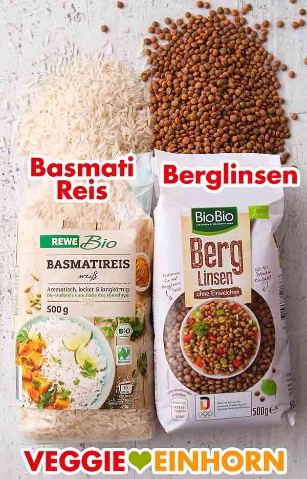 Basmati Reis und Berglinsen