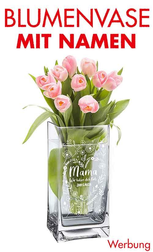 Blumenvase mit personalisierter Gravur zum Muttertag