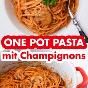 Champignons One Pot Pasta auf einem Teller und in einem Topf