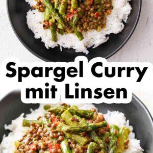 Ein schwarzer Teller mit Spargel Linsen Curry