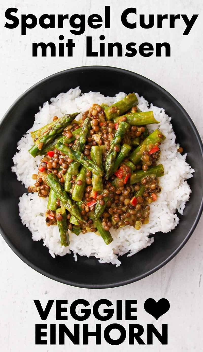 Ein Teller mit Basmati Reis und Spargel Linsen Curry