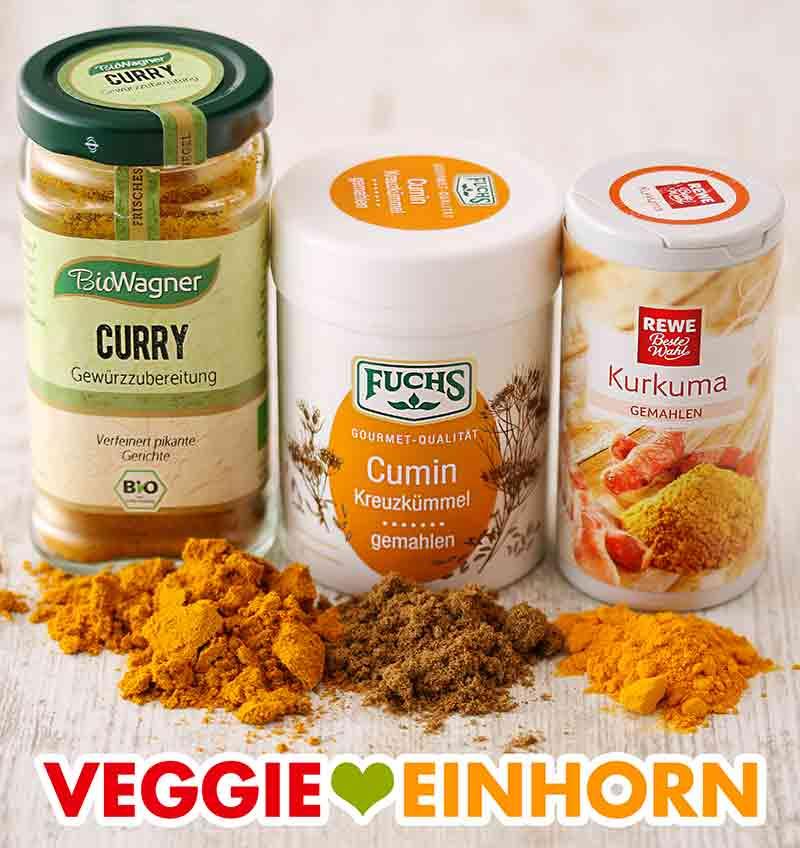Currypulver, gemahlener Kreuzkümmel, Kurkuma