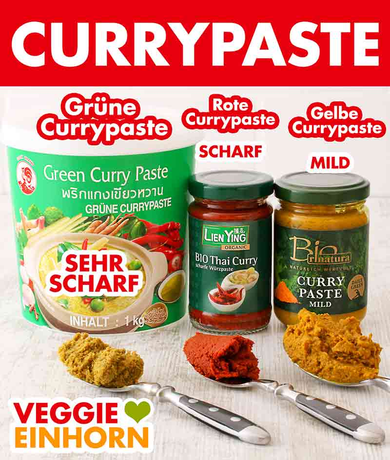 Grüne, rote und gelbe Currypaste