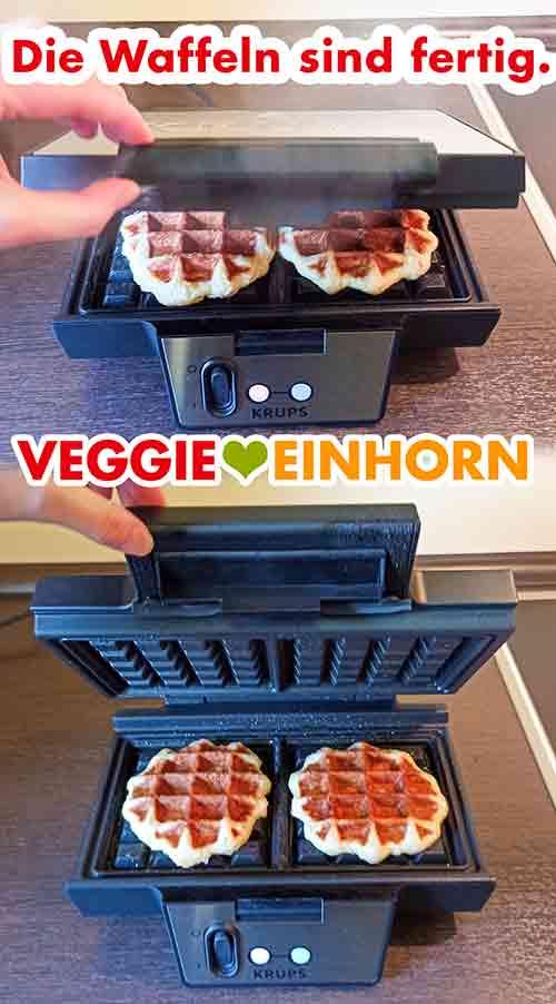 Die veganen Lütticher Waffeln sind fertig gebacken.