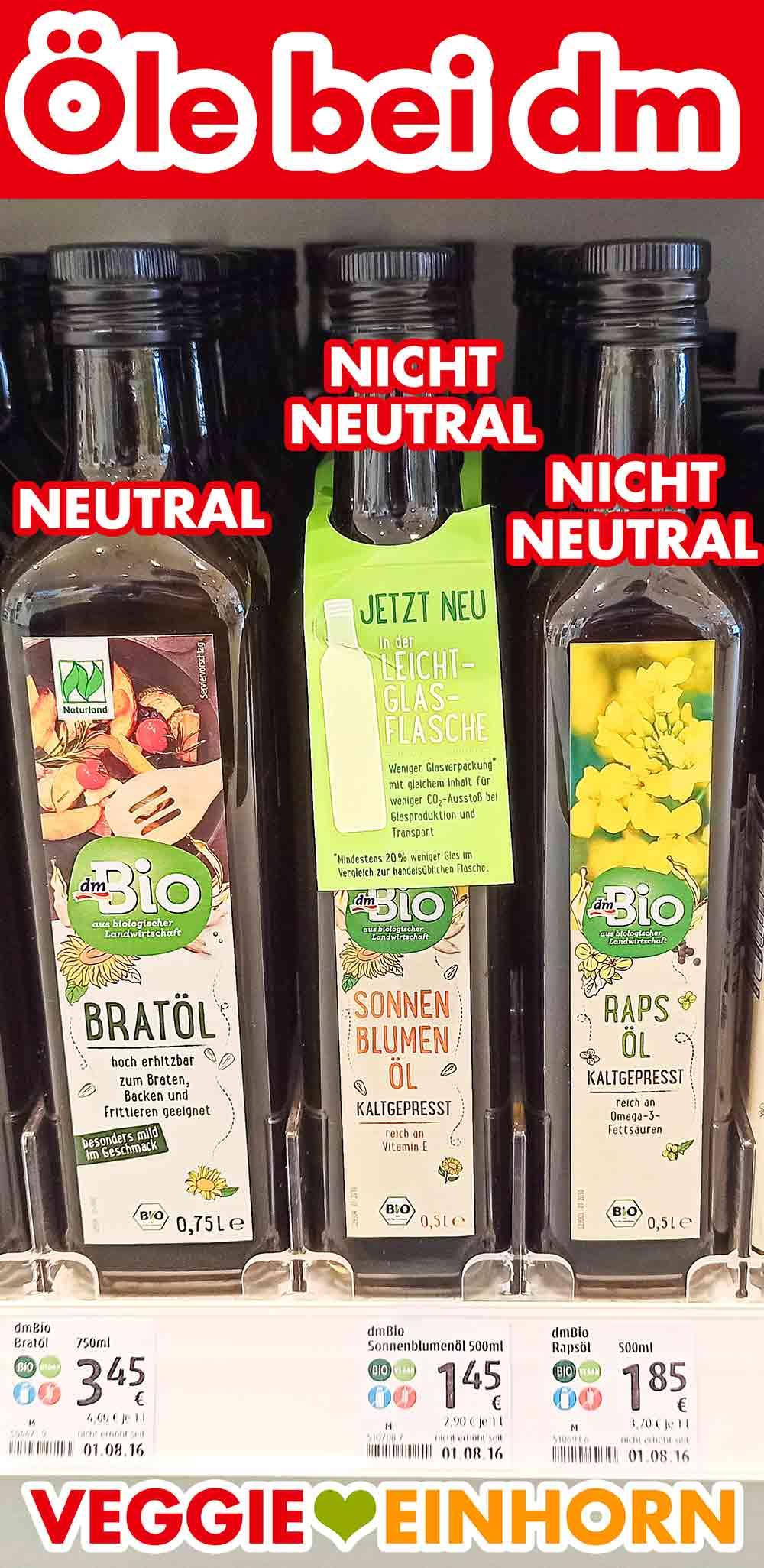 Bratöl, kaltgepresstes Sonnenblumenöl und natives Rapsöl im Regal bei dm