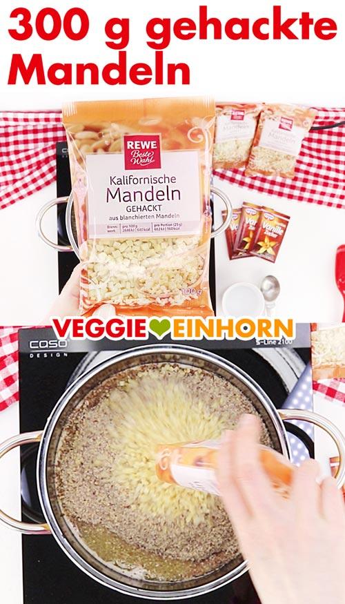 Gehackte Mandeln für vegane Nussecken