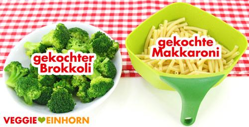 Gekochter Brokkoli und Makkaroni
