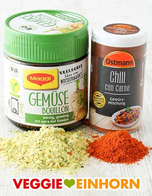 Gemüsebrühe Pulver und Chili con Carne Gewürzmischung
