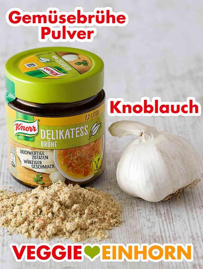 Gemüsebrühe Pulver und eine Knoblauchknolle