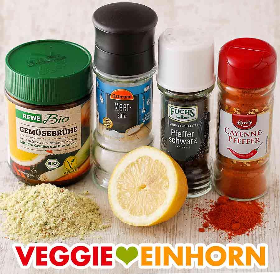 Gemüsebrühe Pulver, Salz und Pfeffer, Cayennepfeffer, Zitrone