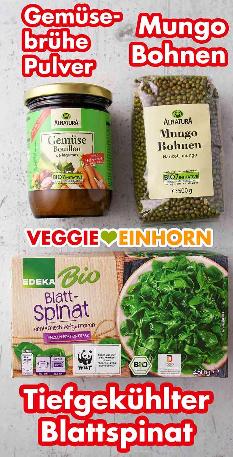 Gemüsebrühe Pulver, Mungbohnen, TK Blattspinat