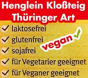 Henglein Kloßteig Thüringer Art ist laktosefrei, glutenfrei und sojafrei.