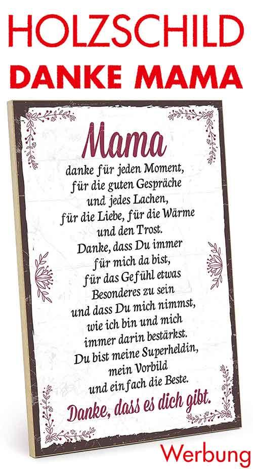 Holzschild mit Text Danke Mama