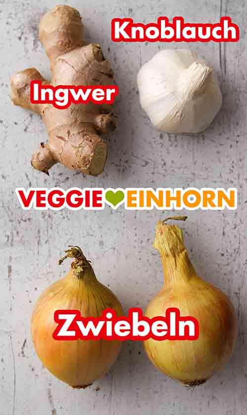 Frischer Ingwer, Knoblauch und Zwiebeln