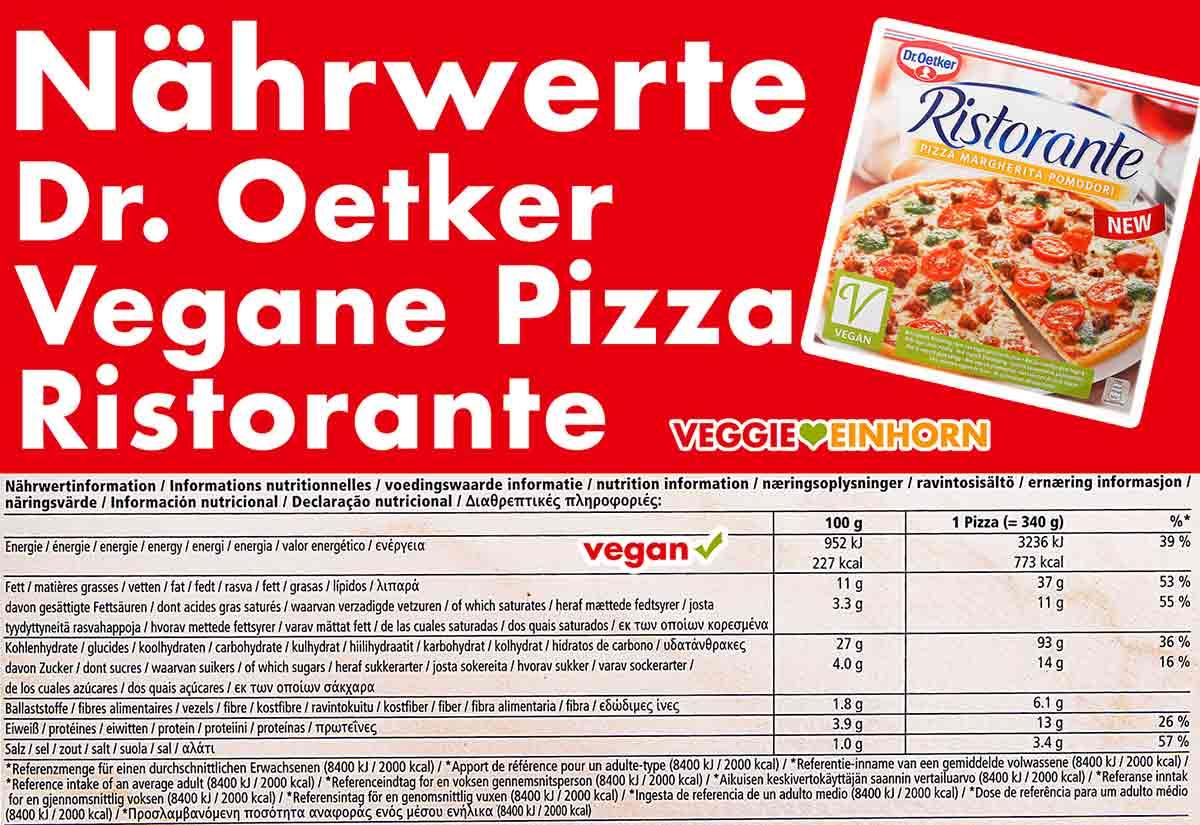 Nährwerte der veganen Dr. Oetker Pizza