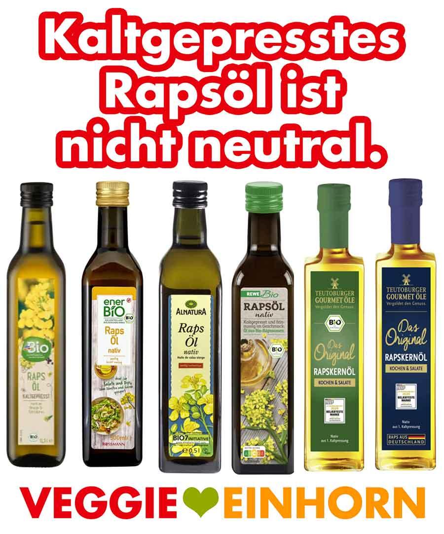 Flaschen mit kaltgepresstem Rapsöl
