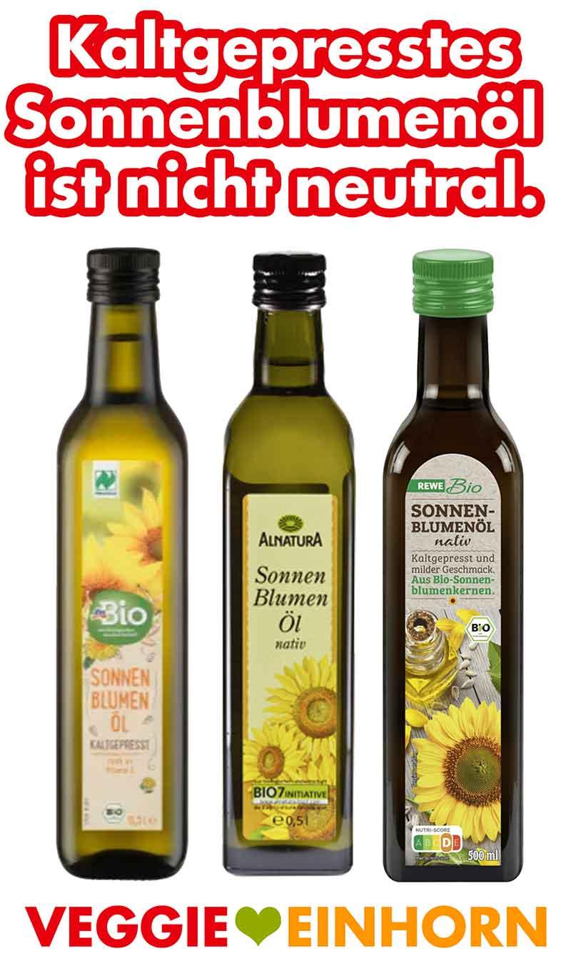 Flaschen mit kaltgepresstem Sonnenblumenöl