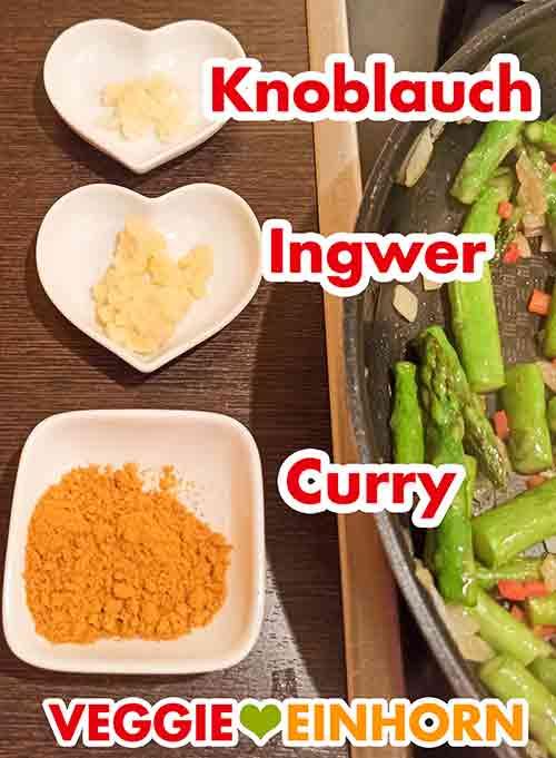 Gepresster Knoblauch, geriebener Ingwer und Currypulver