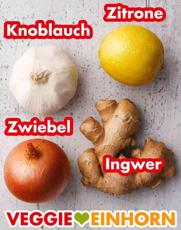 Knoblauch, Zitrone, Zwiebel, Ingwer