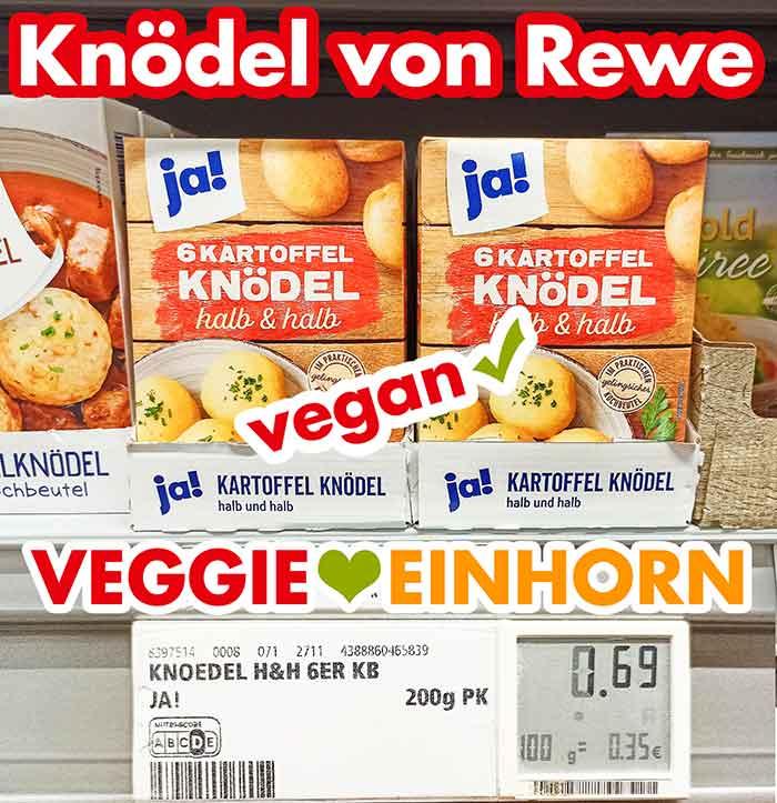Packungen mit veganen Kartoffel Knödeln bei Rewe