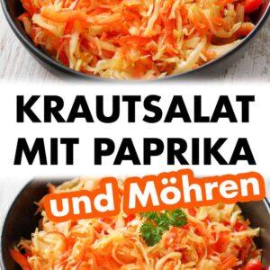 Krautsalat mit roter Paprika und Karotten