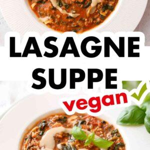 Vegane Lasagne Suppe mit Mandelsoße und Basilikum garniert