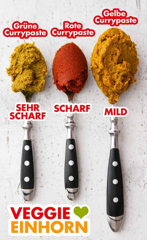 Löffel mit grüner, roter und gelber Currypaste
