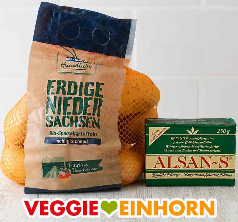 Mehlig kochende Kartoffeln und Alsan-S vegane Butter