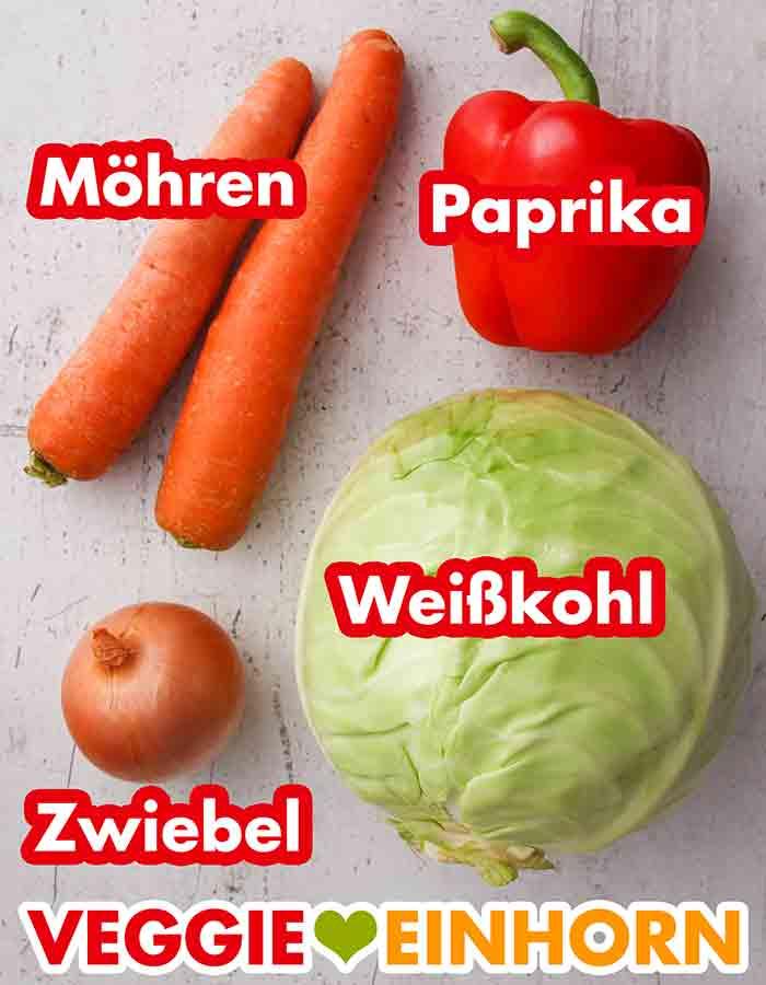Möhren, Paprika, Zwiebel, ein Kopf Weißkohl