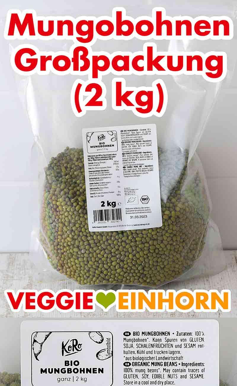 Eine Großpackung Mungbohnen von Koro