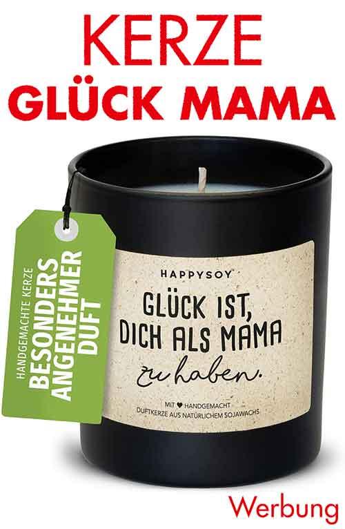 Kerze mit Spruch Glück ist, Dich als Mama zu haben.