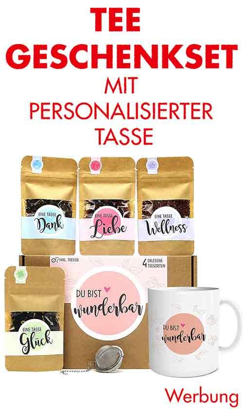 Tee Geschenkset mit personalisierter Tasse