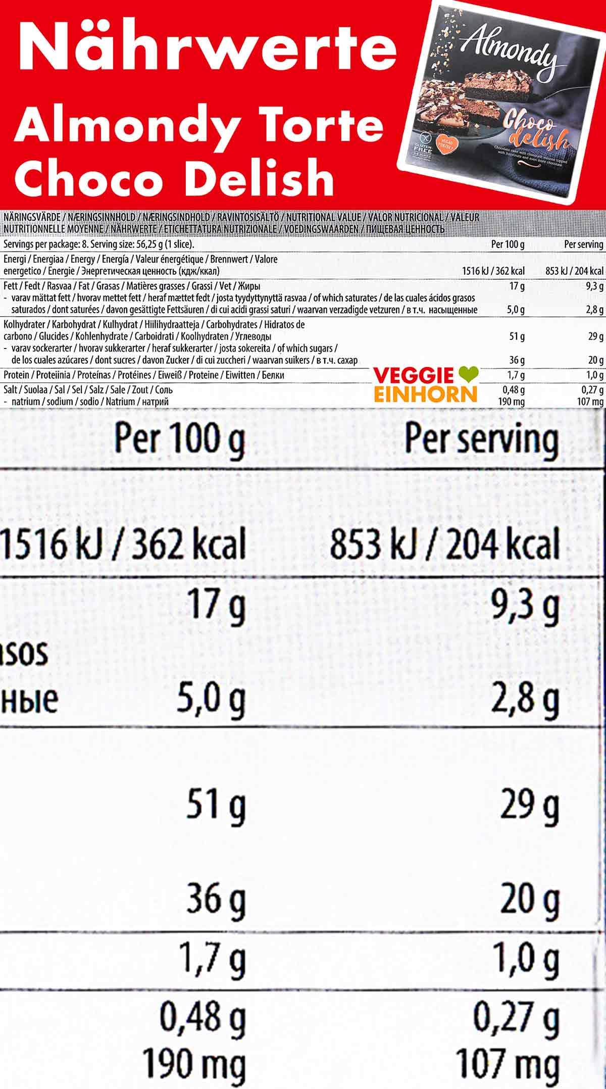 Nährwerte der veganen Torte von Almondy