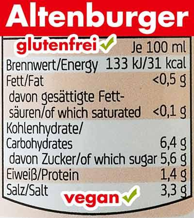 Nährwerte der Altenburger Worcester Sauce